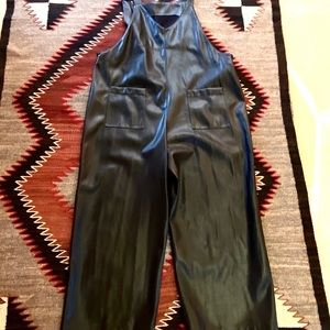 Adorabe Leather (faux) Overalls W Pockets New XL